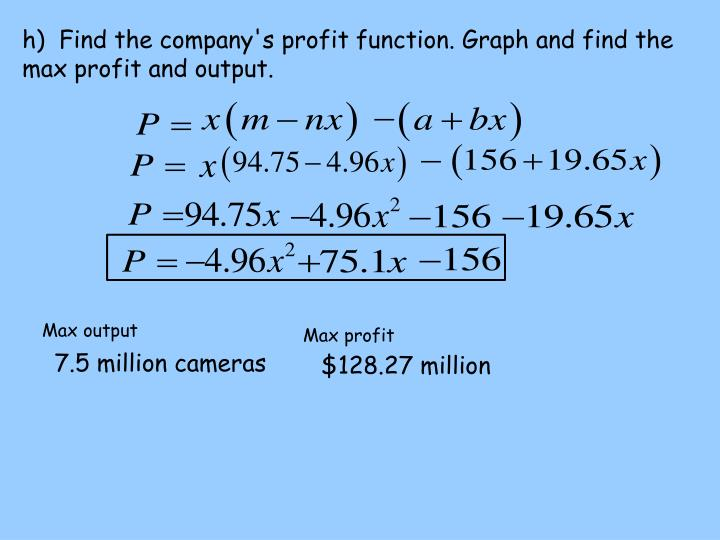 h)  Find the company's profit function. Graph and find the max profit and output.