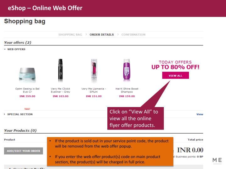 eShop – Online Web Offer