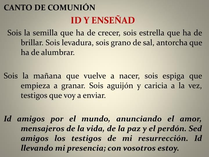 CANTO DE COMUNIÓN
