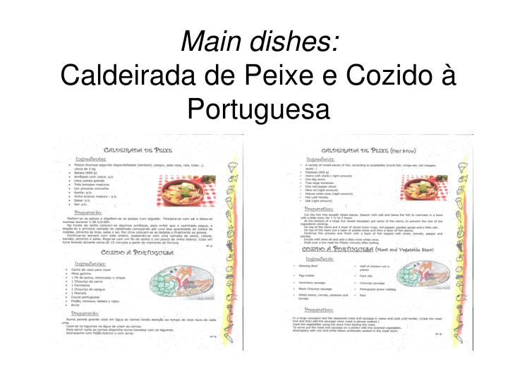 Main dishes: