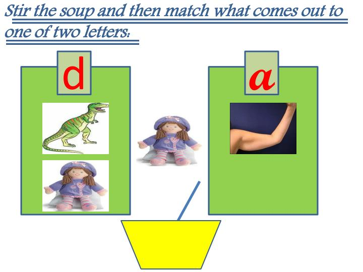 Stir the soup and then match what comes out to