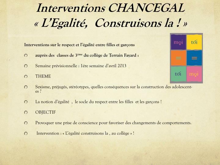 Interventions CHANCEGAL