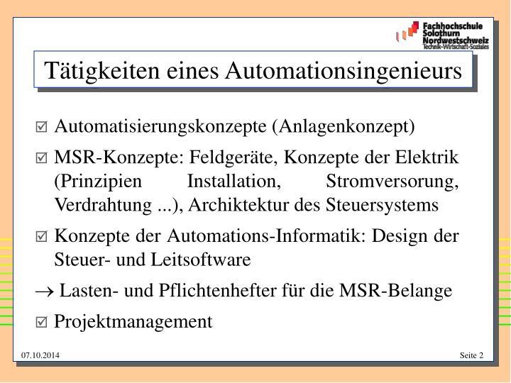 Tätigkeiten eines Automationsingenieurs