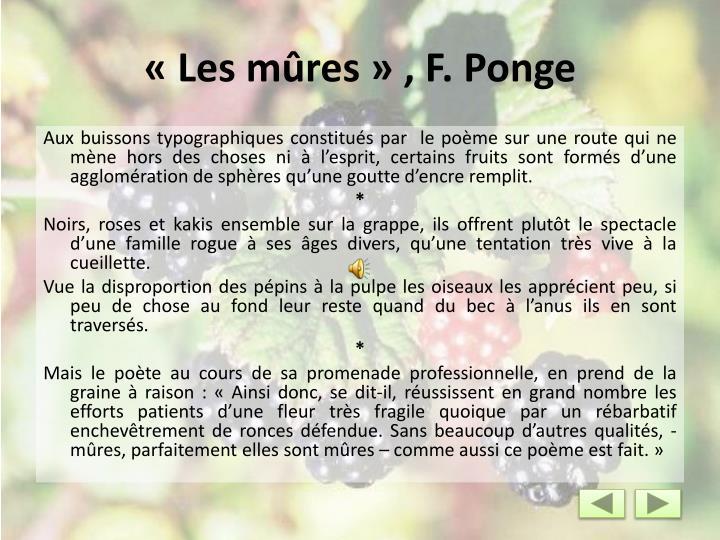 «Les mûres» , F. Ponge