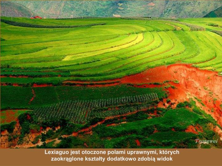 Lexiaguo jest otoczone polami uprawnymi, których zaokrąglone kształty dodatkowo zdobią widok