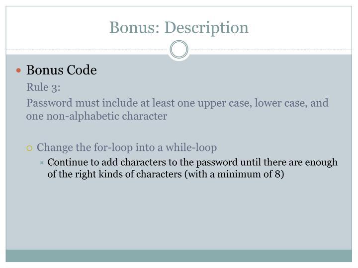 Bonus: Description