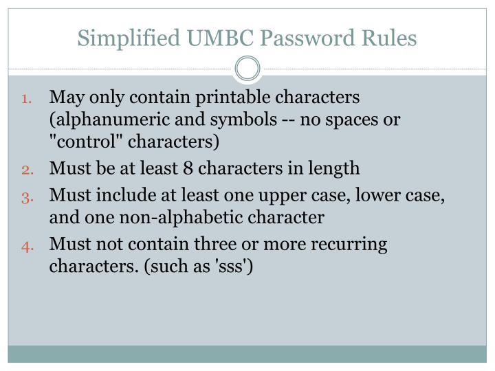 Simplified UMBC Password Rules