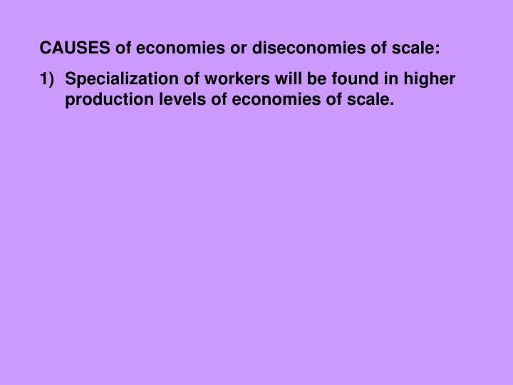 CAUSES of economies or diseconomies of scale: