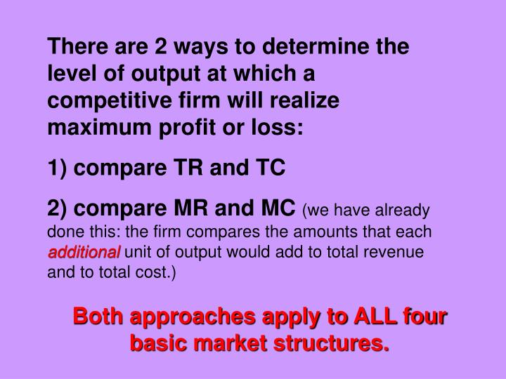There are 2 ways to determine the level of output at which a competitive firm will realize maximum profit or loss: