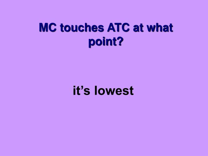 MC touches ATC at what point?