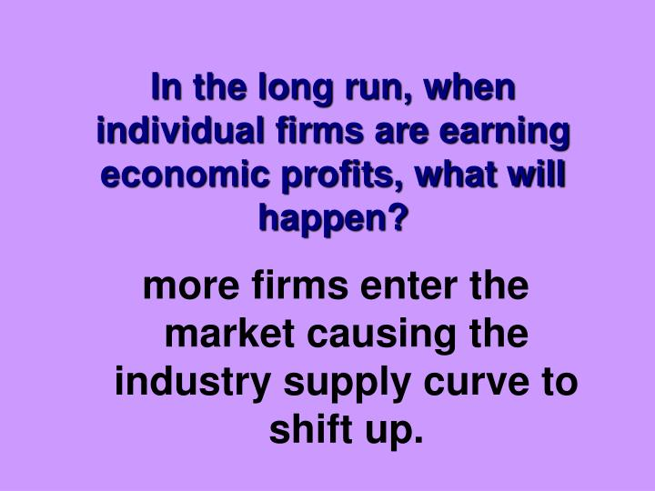 In the long run, when individual firms are earning economic profits, what will happen?