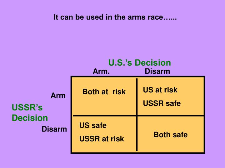 It can be used in the arms race…...