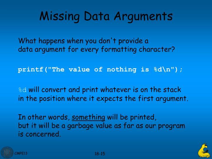 Missing Data Arguments