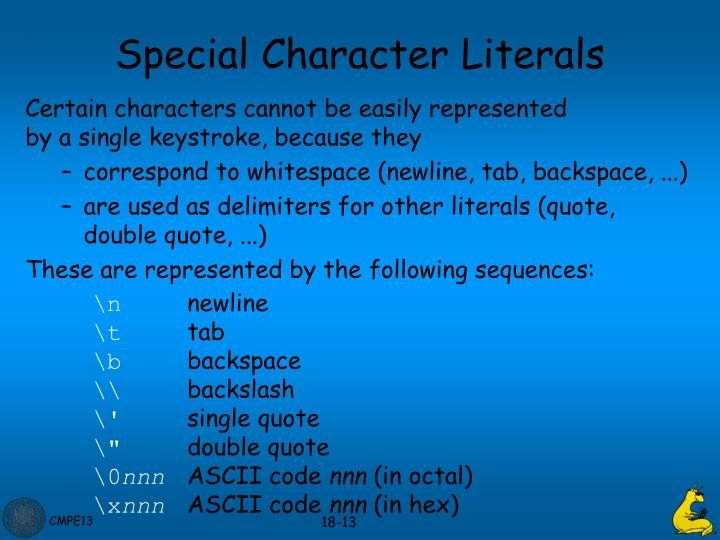 Special Character Literals