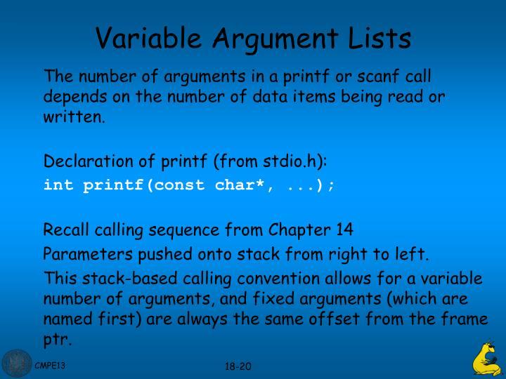 Variable Argument Lists