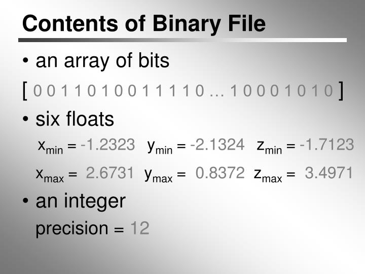 Contents of Binary File