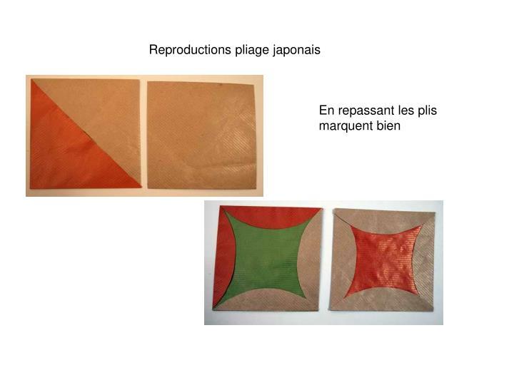 Reproductions pliage japonais