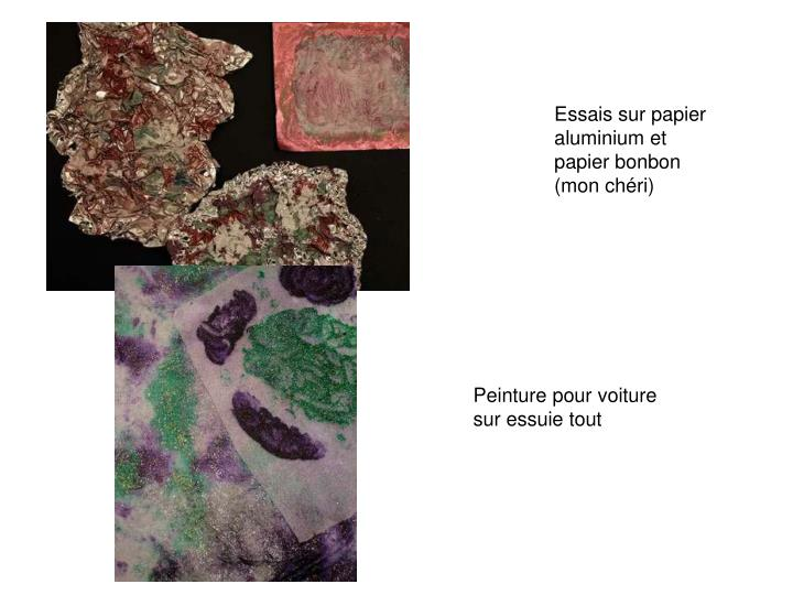 Essais sur papier aluminium et papier bonbon (mon chéri)