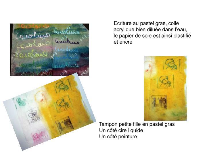 Ecriture au pastel gras, colle acrylique bien diluée dans l'eau, le papier de soie est ainsi plastifié et encre