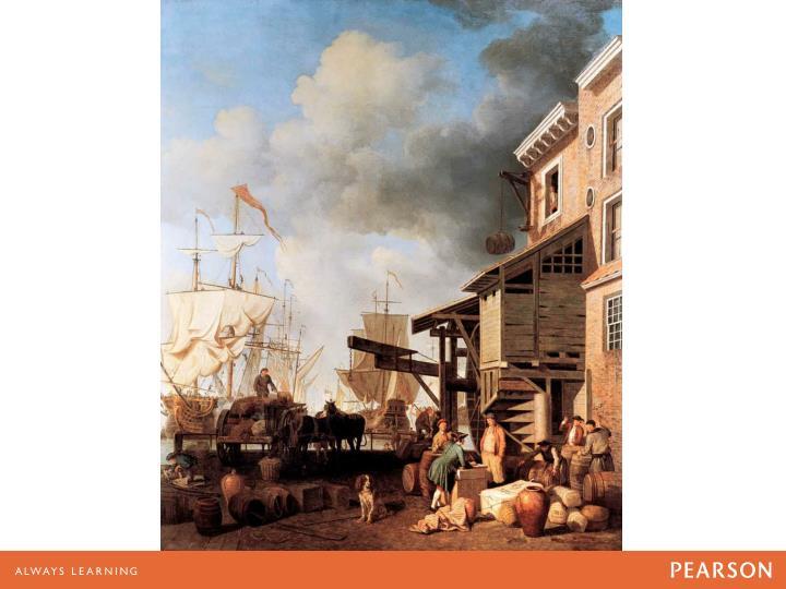 Eighteenth-century ships being unloaded