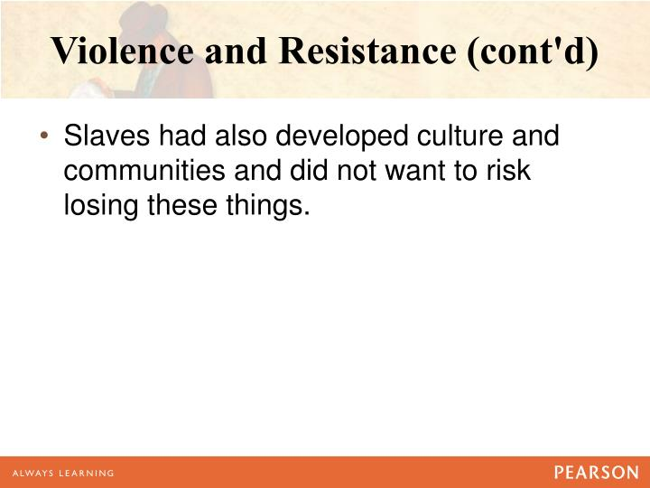 Violence and Resistance (cont'd)