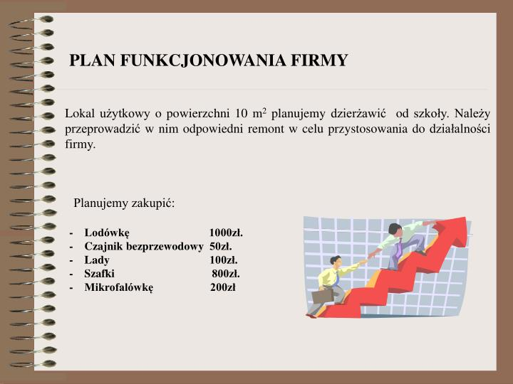 PLAN FUNKCJONOWANIA FIRMY