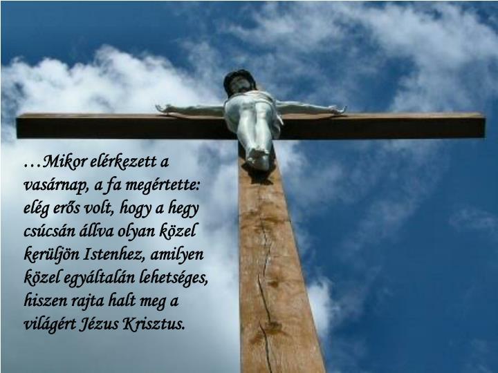 …Mikor elérkezett a vasárnap, a fa megértette: elég erős volt, hogy a hegy csúcsán állva olyan közel kerüljön Istenhez, amilyen közel egyáltalán lehetséges, hiszen rajta halt meg a világért Jézus Krisztus.