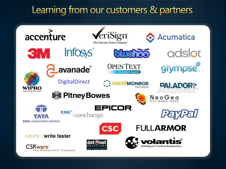 Learning from our customers & partners
