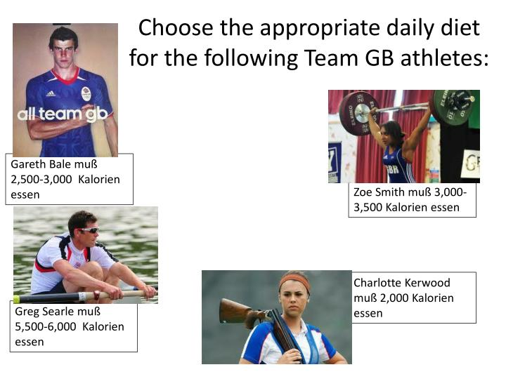 Choose the appropriate daily diet for the following Team GB athletes: