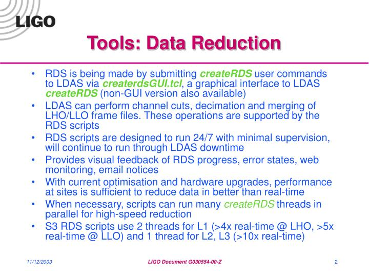 Tools data reduction
