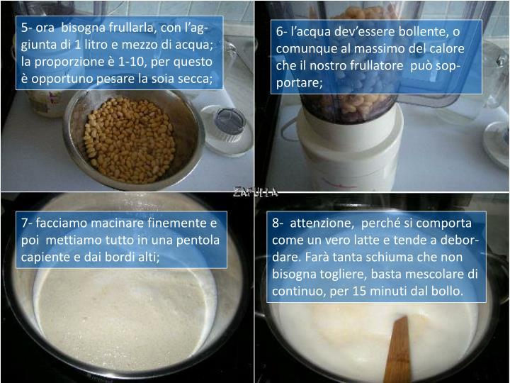 5- ora  bisogna frullarla, con l'ag-giunta di 1 litro e mezzo di acqua; la proporzione è 1-10, per questo è opportuno pesare la soia secca;