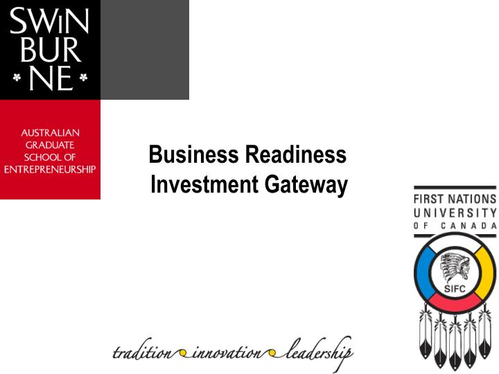 Business Readiness Investment Gateway