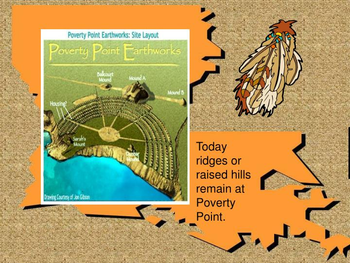 Today ridges or raised hills remain at Poverty Point.