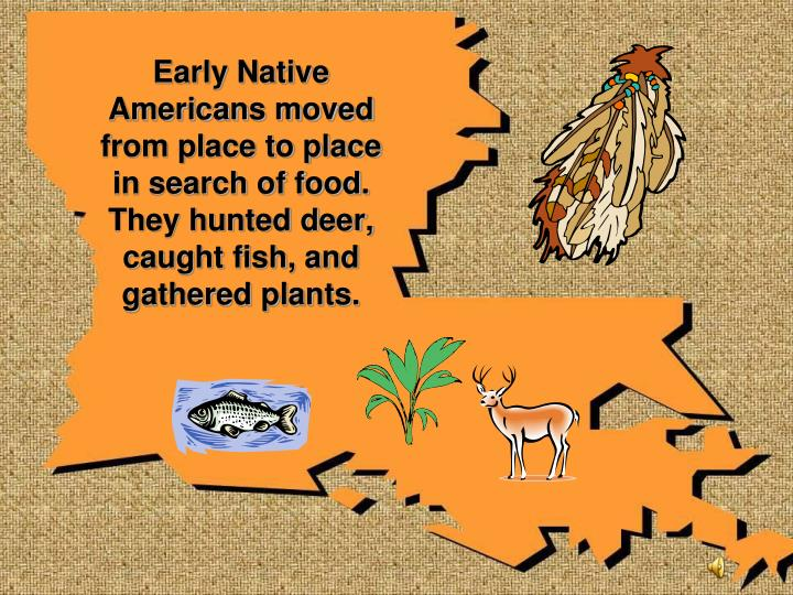 Early Native Americans moved from place to place in search of food. They hunted deer, caught fish, and gathered plants.