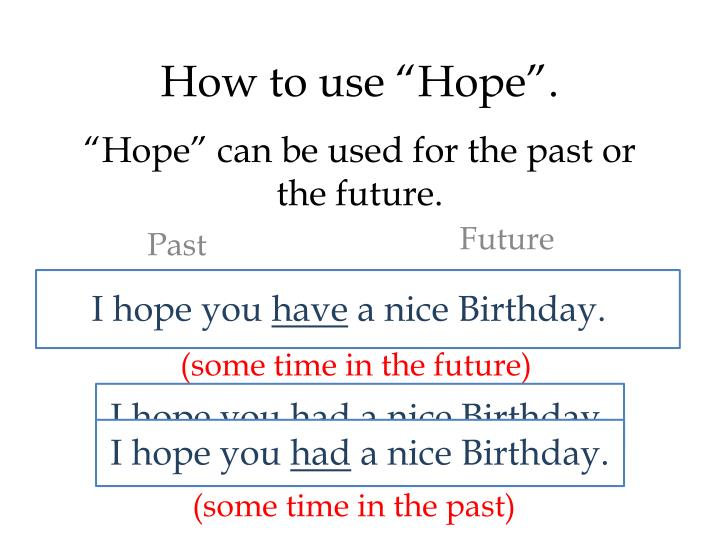 """Hope"" can be used for the past or the future."