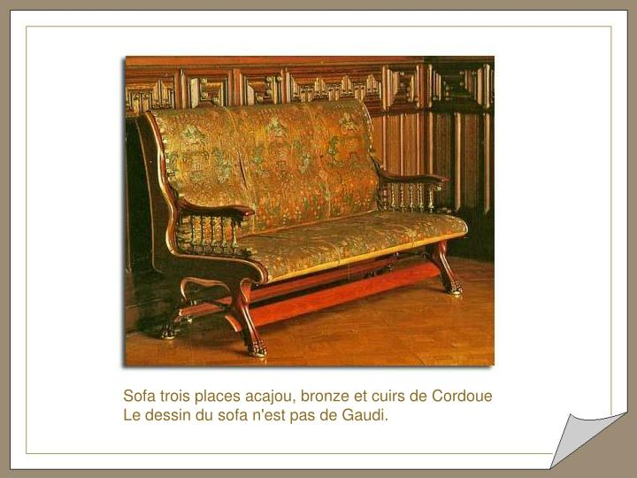 Sofa trois places acajou, bronze et cuirs de Cordoue