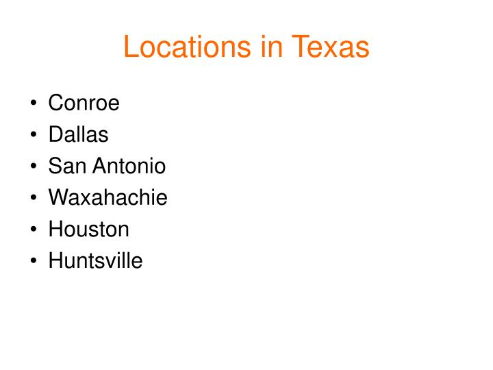 Locations in Texas