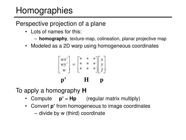 Homographies