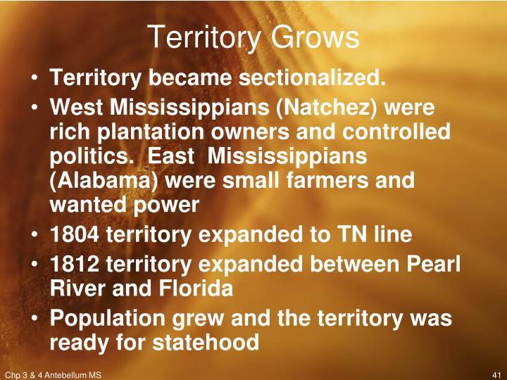 Territory Grows