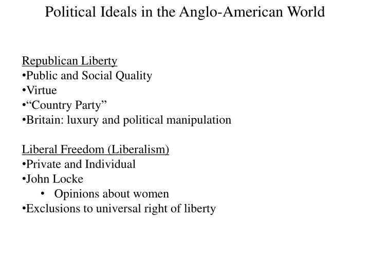 Political Ideals in the Anglo-American World