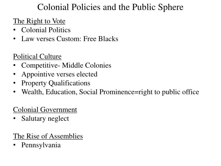 Colonial Policies and the Public Sphere