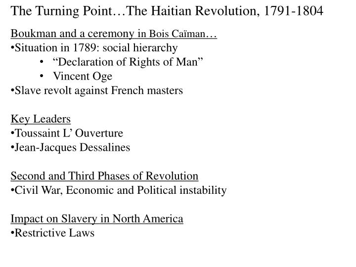 The Turning Point…The Haitian Revolution, 1791-1804