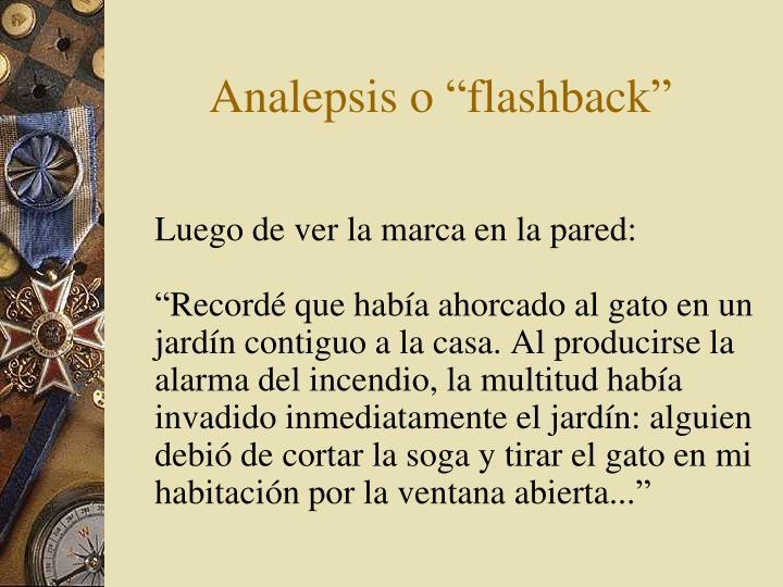 "Analepsis o ""flashback"""