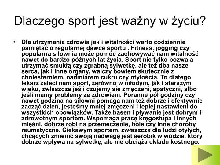 Dlaczego sport jest ważny w życiu?