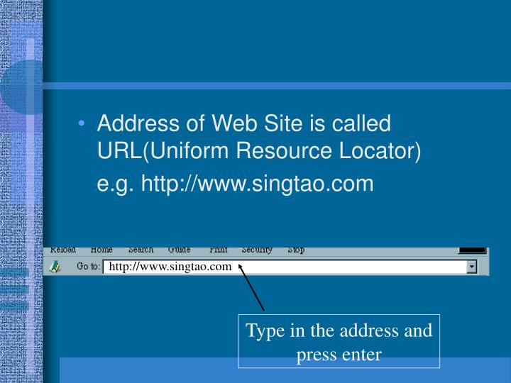 Type in the address and press enter
