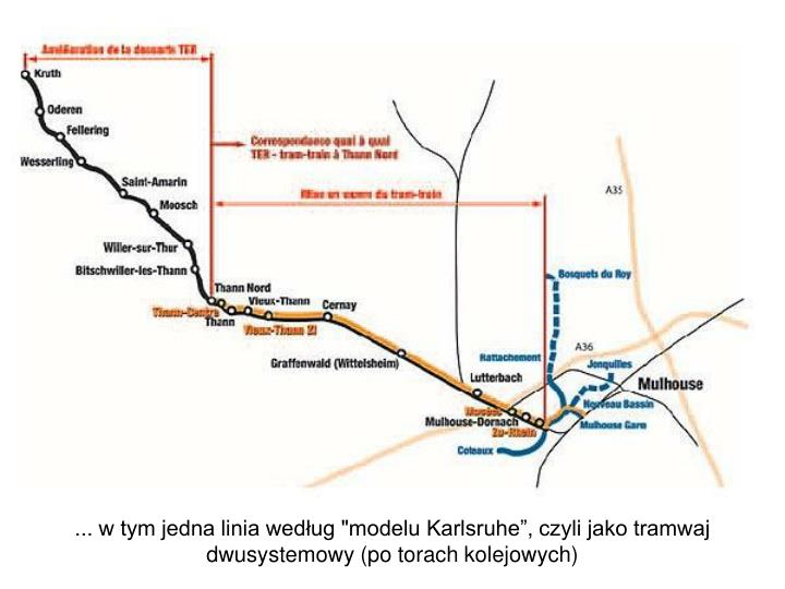 """... w tym jedna linia według """"modelu Karlsruhe"""", czyli jako tramwaj dwusystemowy (po torach kolejowych)"""