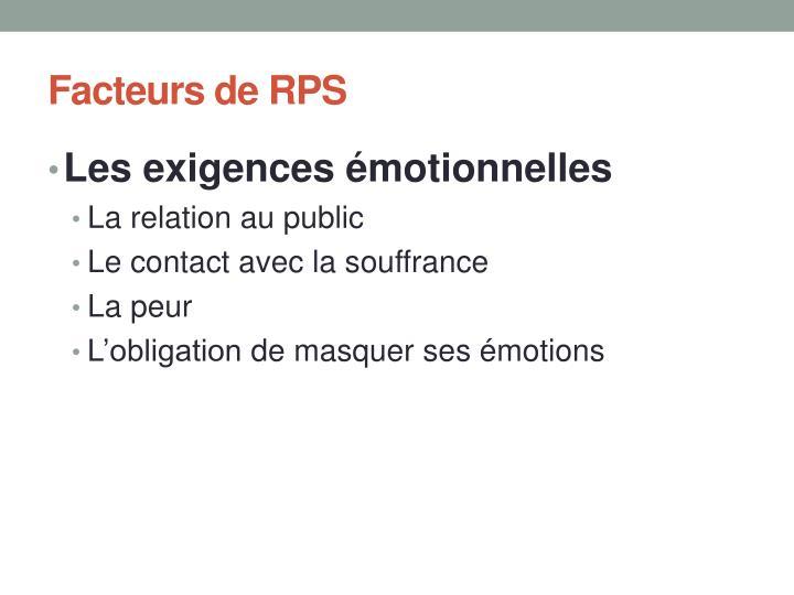 Facteurs de RPS