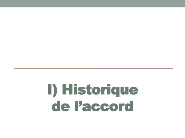 I) Historique