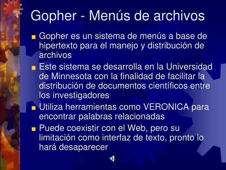 Gopher - Menús de archivos