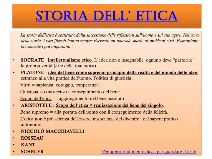 STORIA DELL' ETICA